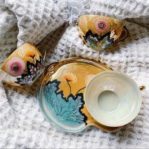 Vtg Noritake Japanese Iridescent Tea Set